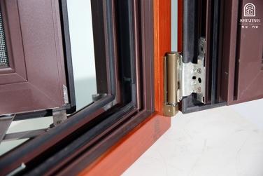 安吉SJ-108铝木复合钢网一体内开窗