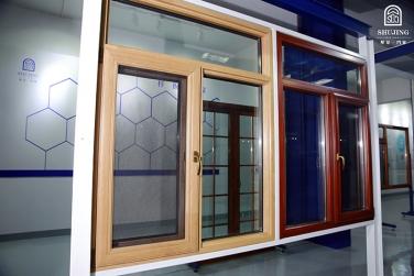 SJ-128铝木复合钢网一体外开窗